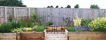 Landscaped Garden with Table and Chairs