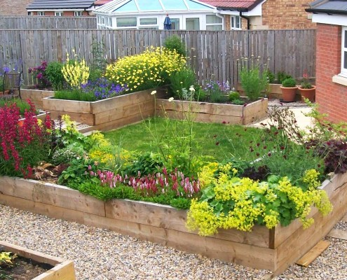This beautiful garden was created from scratch with the use of raised flower beds - ideal for those with limited mobility. The design was created by Wendy Pilmer of northumberlandgardendesign.com